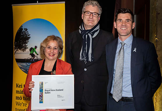 Two representatives from the Royal New Zealand Ballet receiving the Accessibility Champion award.
