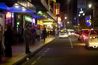 Courtenay Place at night.