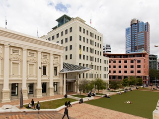 Wellington's Civic Square, showing the Town Hall and the Council's Building.