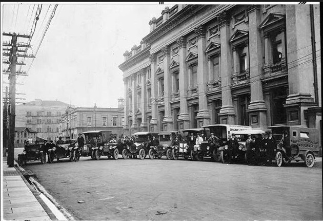 Image of ambulances in front of the Wellington Town Hall
