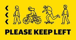 Image of Keep Left decals which will be placed in CBD to encourage physical distancing