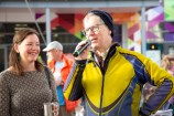 Image of MP Julie Anne Genter with MC Bryan Crump at Go By Bike Day 2020