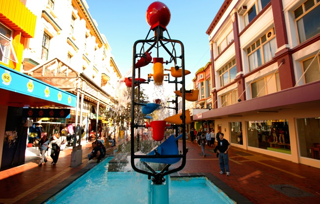A shot of Wellington's iconic bucket fountain, on Cuba St, on a sunny day.