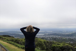 Brooklyn resident Mel Beirne on the Brooklyn Wind Turbine Route, with her hands on her head, looking out to the misty view of Wellington suburbs and harbour.