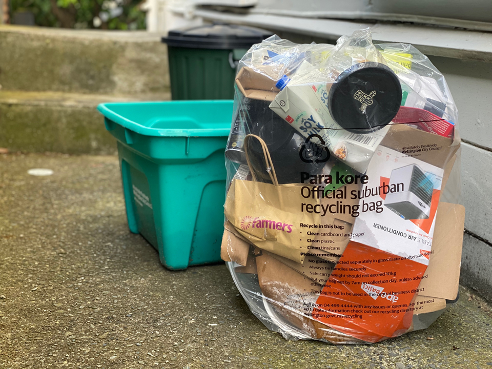 An official council bag of recycling, on the path out the back of a grey-painted house, next to a green bottle recycling bin and rubbish bin, with two steps in background.