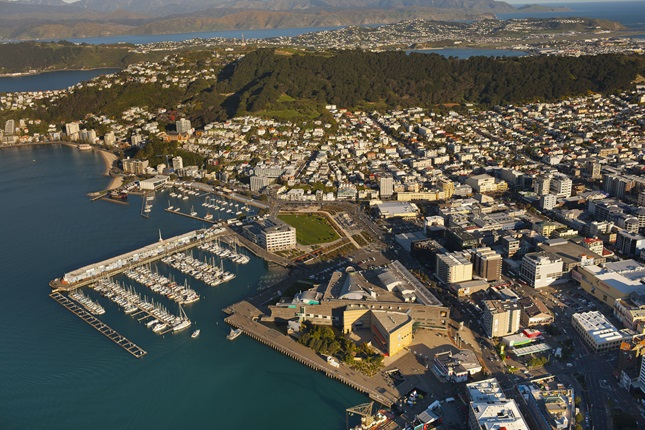 An aerial shot of Wellington harbour, the marina, the Mt Victoria lookout, and the eastern suburbs in the background.