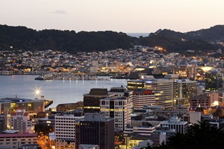 A shot of Wellington city and harbour at twilight.