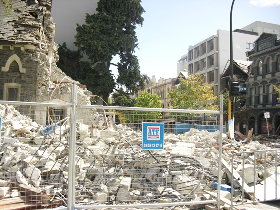 Collapsed buildings in the aftermath of the Christchurch earthquake.