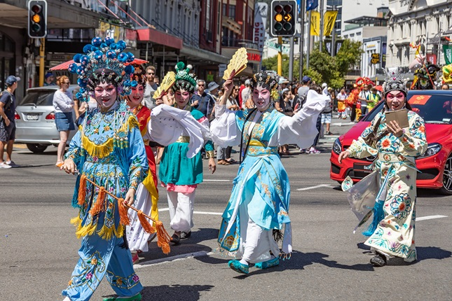 Image of performers in Chinese New Year parade in Courtenay Place