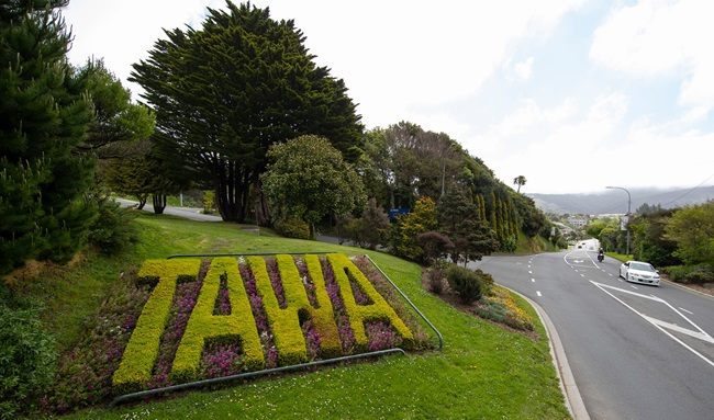 Photo of the floral entrance welcome to the suburb of Tawa.