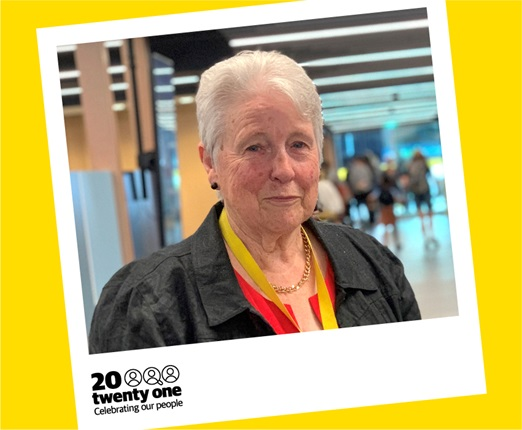 A portrait of Bernice Dickie, a librarian of 60 years, framed in a polaroid with the 20 Twenty One logo, as part of a Wellington City Council profile series that celebrates staff who have been with the organisation for 20 or more years.