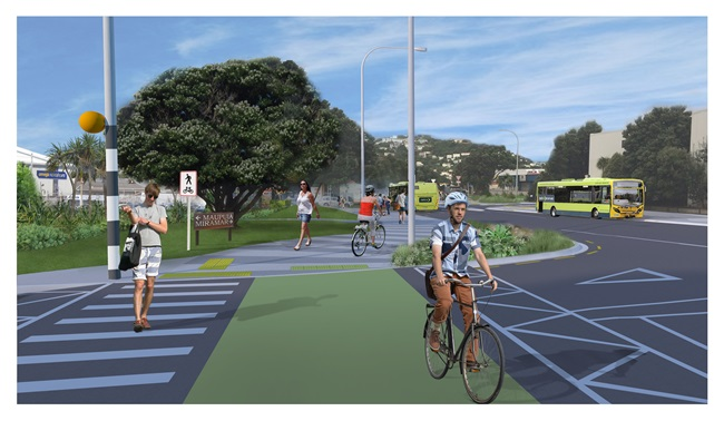 Artist impression of the new walking and biking paths being constructed in Miramar