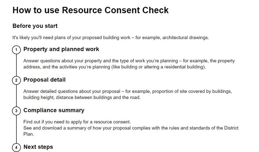 A screenshot of the Resource Consent Check website.