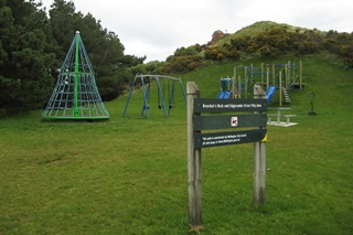 View of Brandon's rock playground and park