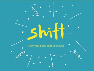 Shift written in yellow on a blue background.