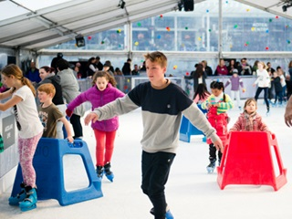 View of indoor ice rink and people of all ages ice skating.