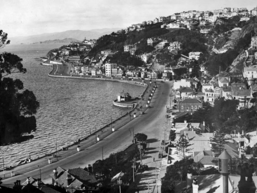 View of Oriental Parade and original band rotunda before it moved to Central Park in 1936.
