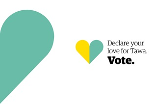 Tawa Community Board by elections 2017 logo with yellow and green heart and the words 'Declare your love for Tawa. Vote'.