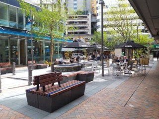 Grey Street with it's finished seating and trees.