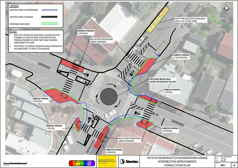 Aerial view of Hataitai intersection with a roundabout draft design on top, and text explaining the improvements proposed.
