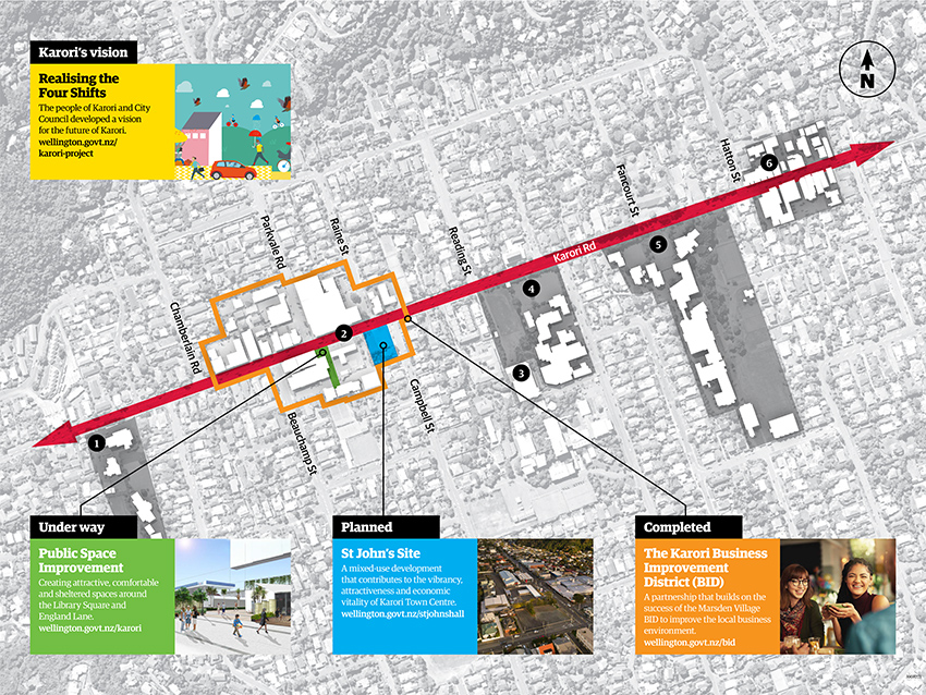 Map of Karori with development areas highlighted.