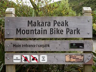 Welcome sign at the entrance to Makara Peak mountain bike park