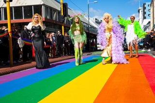 A group of drag queen performers at the rainbow crossing launch.