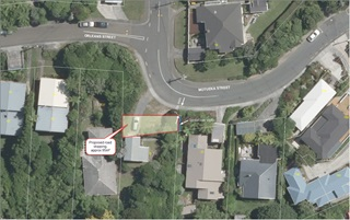 Aerial view of Motueka Street featuring the land that the Council is proposing to sell.