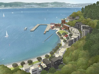 The image shows an artist concept of the development proposed for Shelly Bay.
