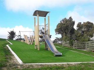 A slide structure at Glamorgan play area.