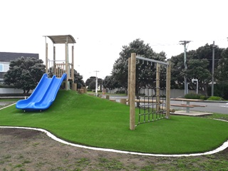 Slide and climbing frame at Seatoun Play area.