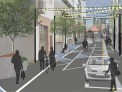 Digital image of what the Holland Street renovation could look like, including pedestrians, trees and cars.