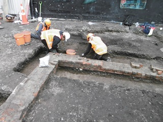 Denton Park brick wall excavation carried out under an archaeological authority issued by Heritage New Zealand Pouhere Taonga.