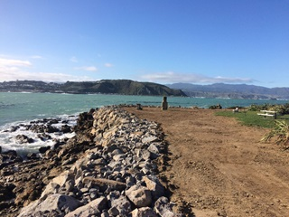 The image shows the rocks added to protect the edge of the Dorrie Leslie Park in Lyall Bay.