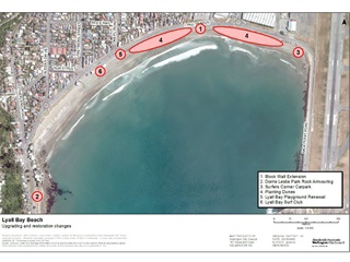 Map showing the different locations of the restoration work in Lyall Bay.
