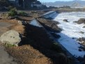 Damage to the seawall in Island Bay.