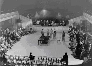 Table tennis tournament at Wellington Town Hall (1933).