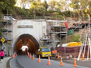 Strengthening work being carried out at Northland Tunnel.