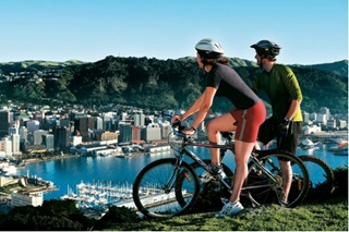 Two cyclists on Mount Victoria.