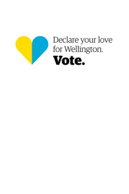Elections 2016 logo with yellow and blue heart and the words 'Declare your love for Wellington. Vote'.
