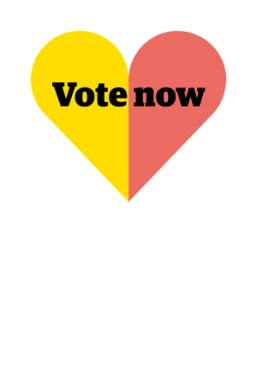 Elections 2016 logo with yellow and red heart and the words 'Vote now'.