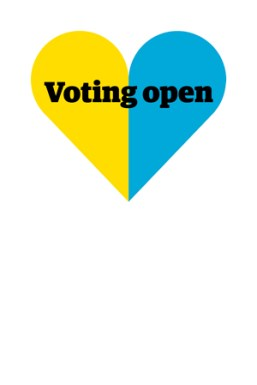 Elections 2016 logo with yellow and blue heart and the words 'Voting open'.