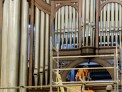 Installing the scaffolding to remove the organ pipes.