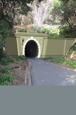Artist's impression of work at Mt Victoria end of Hataitai bus tunnel