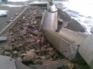 Island Bay seawall damage after June 2013 storm.