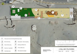 Birds-eye view of a map of the proposed Lyall Bay playground upgrade.