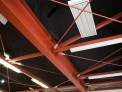 Close up view of steel bracing in the ceiling