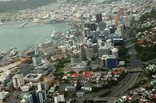 Aerial view of Wellington city.
